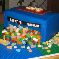 Spilled Lego Bin This was for my son's 5th bday- 4 9x13's covered in mmf. Purchased Lego candy and used my son's mini figs to hold the candy...