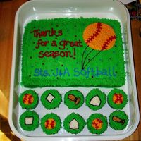 Softball Cake I used a Tupperware container that was the size I wanted for the softball, and gently pressed it into the icing for my pattern. I free-...