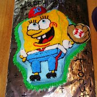 Spongebob Baseball I think this is my 3rd Spongebob cake!! My nephew wanted baseball with Spongebob! I used the Wilton pan and followed the picture that was...