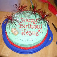 Happy Birthday, Jesus Used Funfetti cake and frosting, with their sprinkles - simple and fast, and very tasty!