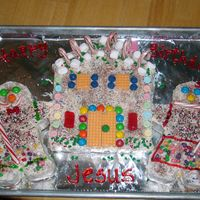 Gingerbread House And People Non-traditional Happy Birthday, Jesus cake! My husband and I decorated with the candies and sprinkles. I love Gingerbread houses so this...