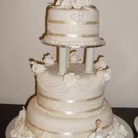 Romantic Roses 3 tier mud cake with ivory fondant and ivory hand moulded roses and leaves.shell edging and ivory ribbon