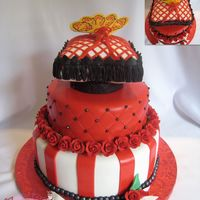 Red And Black Cake This cake was for a bridal shower, Spanish theme.