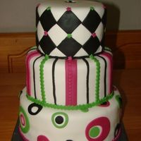 "Fushia/green/black Wedding This was a colorful cake, based on my very first wedding cake I ever did (with different colors and shape). 10/8/6"" rounds, all..."