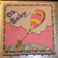 Oh The Places You'll Go Marble 14 x 14 square cake covered with buttercream and MMF accents. Balloon and baby Dr. Suess accents are color flow with black food...