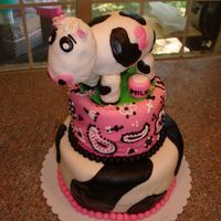 Girl's Farm Party Chocolate and strawberry cake covered with Marshmallow Fondant. Cow is rice Krispies covered in MMF.