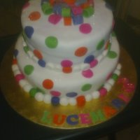 3 Tier Cake With Colorful Circles.