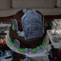 Over The Hill A Cake I did for a friend's co-worker. Triple Chocolate fudge Cake filled with chocolate pudding, covered in chocolate bc, covered in...