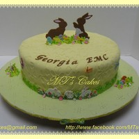 "Spring - Happy Easter To celebrate Spring and Easter in one of the Georgia EMC offices.Cake 10 x 4 inch round covered with ""Satin Ice Rolled"" fondant..."