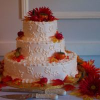 Fall Wedding Cake fall wedding cake with outlined leaf pattern design.