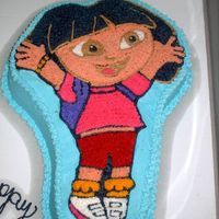 My First Dora Cake This was a cake I did for a friends daughters Birthday. It is a WASC with rasberry filling.