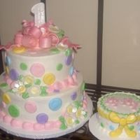 "Pastel First Birthday All BC, 8""-6"", fondant bow, flowers, and ""buttons""."