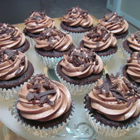 Triple Chocolate Cupcake chocolate cupcake with chocolate cream cheese icing and topped with chocolate shavings! a chocolate lovers dream!! tfl