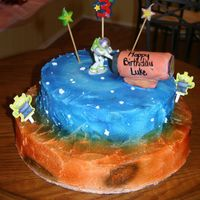 Buzz Lightyear This is a buzz lightyear cake to look like buzz is on another plant with a rocket. Rocket actually shoots our confetti.