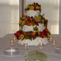 Basket Wedding Cake basket made with royal icing and fall flowers