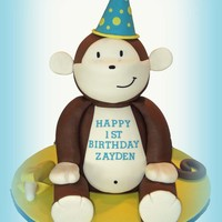 "3D Mokey Cake Monkey Cake. This cake stands 18"" tall and is made entirely of cake except the hat, ears, hands, banana and feet which are made of..."