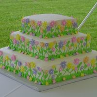 Garden Flowers Wedding Cake