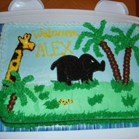 Jungle Baby Shower Cake   Chocolate cake, all BC freehand. Inspired by many CC members. The elephant doesn't look so dark in real life...