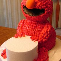 Elmo Practice This is a practice cake to see if I could do it. I ran out of frosting so one leg is not done and his hands and feet aren't done.