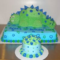 Dinosaur Cake  This cake was made for a baby's 1st Birthday. Dinosaur made using small oval pan for body and small sportsball pan for head iced in...