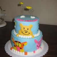 Pooh Cake Thanks to amandasweetcakes for the inspiration. All buttercream with gumpaste bees.