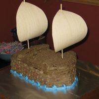 Pirate Ship Cake All buttercream cake with paper sails