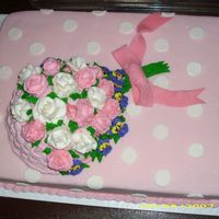 Pink Poka Dot   cake is dark chocolate fudge. Fondant covered and poka dots are fondant to. Roses and basket weave is bettercream.