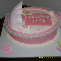 Bassinet   Chocolate cake with fondant. Top peice is gumpadste.