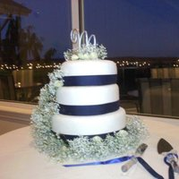 Wedding Cake In Blue & White Dummy Cake with MMF Fondant, Baby Breath and Blue Ribbon. Very Simple and Elegant