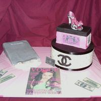 Shoping Cake Cake, bag, chanel box, shoe box, and Vogue mag...gum paste shoe..TFL