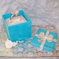 Tiffany Box Cake with gumpaste box...