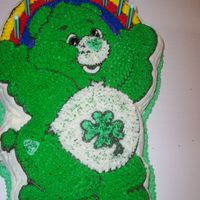 Lucky Care Bear Cake believe or not this cake was for an adult who loved care bears. lucky care bear. cake inside is dyed green with food coloring.