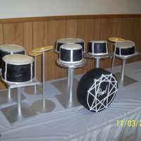 "3D Drum Set 8"" 10"" and 6"" covered in MMF. Bass drum is a dummy cake."