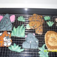 Jungle Animals Sugar cookies decorated with buttercream icing for my son's 1st birthday cake.