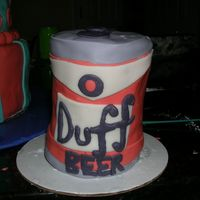 Duff Beer I made this cake for a friend's graduation. I baked the cake in a tin can so it was life size. I covered the entire cake in fondant (...