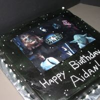 Star Wars This was a simple cake done as a donation for a silent auction (coupon). Airbrushed black BC, edible image, simple BC decorations.