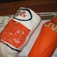 Cheetos & Orange Crush Cake 50th anniversary groom's cake - sweet story behind it. This was fun to make for them. Loosely copied Cheetos bag from 1950s, and Crush...