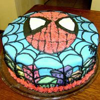 Spidy Spiderman cake for a 4 year old boy. Chocolate cake with dulce de leche and chocolate chip filling, fondant cover and city, buttercream...