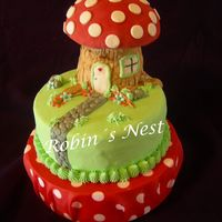 Mushroom Chocolate cake with dulce de leche and white chocolate filling- fondant decor. For a four year old