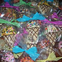 Ice Cream Rkt RKT cut out using a cookie cutter, candy melts and ice cream sprinkles for the decorations. These were party favors for a birthday party.