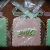 Eva Cookies Party favors for a Baptism. Butter cookie, MMF and fondant accents.