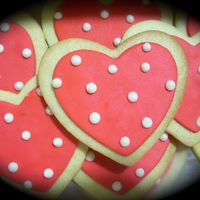 Valentine Polka Dots Valentine cookies for a photo shoot.