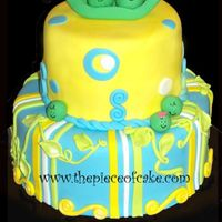 Two Peas In A Pod Cake for girl/boy twins to match the party invitations. Cakes covered in MMF with MMF decorations.