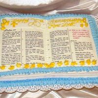 Pastor's Anniversary Bible cake was requested for a pastor's 25th anniversary. Cake was yellow w/buttercream icing.
