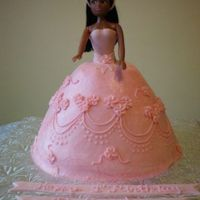 Pink Doll Cake   This is my take on the Pink Wilton Doll cake for a 1st birthday. It's the design my friend wanted. BC with fondant top.