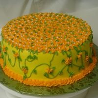 Yellow And Orange Chocolate fudge cake with buttercream.