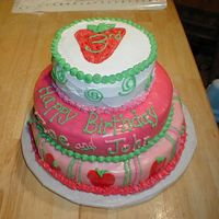 Strawberry Shortcake Theme My daughter had her 3rd birthday as a Strawberry Shortcake theme. She helped me design this cake. It was my first time working with fondant...