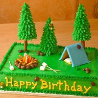 Camping Cake This one was really fun to make! Chocolate cake with vanilla/almond buttercream. Fondant and graham cracker tent. Fondant sleeping bag and...