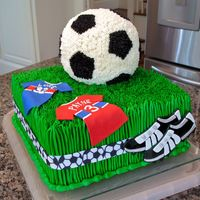 "Soccer Cake Made for a joint birthday party for a 3-year-old and a 32-year old. 10"" square and Wilton sports ball pans. French vanilla cake with..."