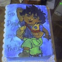 Go Diego I drew him on with icing, and airbrushed the colors... I was rushing and forgot to add a border :-(